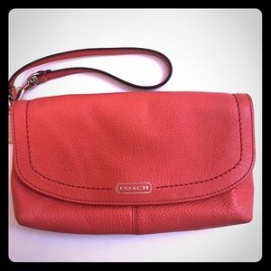 Coach leather wristlet clutch- coral pink